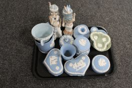 A tray of Wedgwood blue and white jasper ware trinket pots,