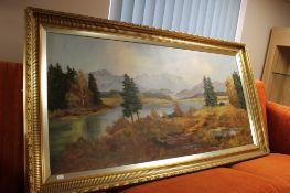 Continental school - oil on canvas depicting alpine landscape