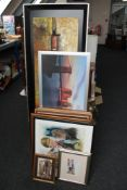 A quantity of pictures to include a signed limited edition colour print 'The Golden Boy' by Peter