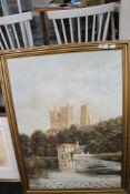 A gilt framed oil on board of Durham Cathedral by John J Kerr together with a framed signed Spencer