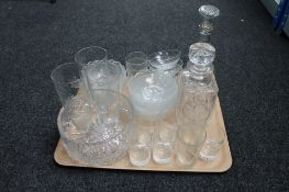 A tray of cut crystal and glass - decanters,