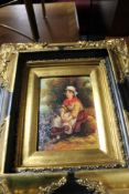 Four decorative gilded framed pictures