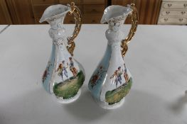 A pair of Austrian gilded decorative urns