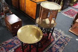 Three brass topped folding occasional tables