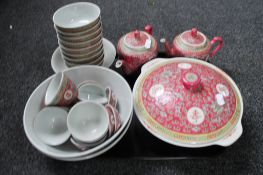 A tray of Chinese tureens, covers,