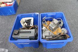 Two boxes containing Kodak carousel, cine camera,