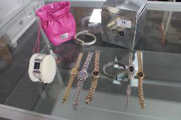 A box of lady's wristwatches including Dolce & Gabanna, Sekonda,