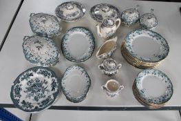 A large quantity of 19th century and other decorative light green dinner china,