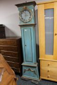 A painted nineteenth century continental longcased clock