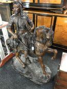 After Barye Fils & Emile Guillemin: An Arabian huntsman on horseback,