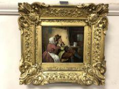 Erskine Nicol RSA ARA (1825 - 1904) : two figures in a tavern, oil on panel, 14.