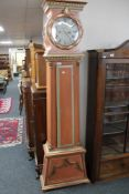 A continental painted longcase clock signed Lindtner,