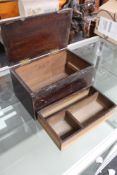 An antique box with lift out tray