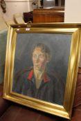 Continental school - gilt framed oil depicting lady