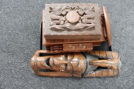 A tray of carved wooden box, African mask, small folding table,