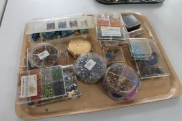 A tray of hobby craft beads etc