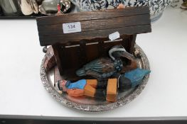 A silver plated tray, carved wooden pipe rack,