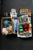 Four boxes of toys - Lego Duplo, cars, plastic trucks,