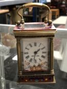 An enamelled French miniature carriage clock