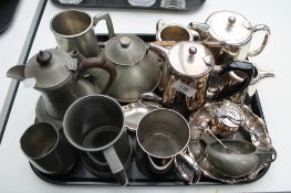 A tray of silver plated and pewter wares