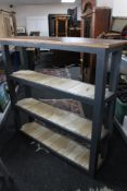 A painted rustic bookshelf CONDITION REPORT: 122cm wide by 31cm deep by 117cm high.