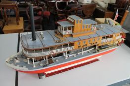 A large vintage live steam model of a steam boat 'Mark Twain'