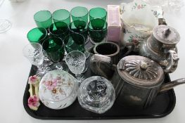 A tray of coloured glass, cut crystal,