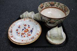 A tray of part Colclough tea china, plates,
