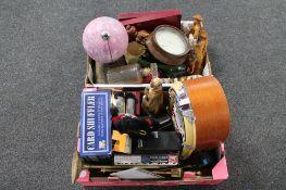 A box of miniature jukebox radio, brass fire companion set, globe,