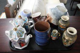 Two Sadler Ware teapots, character jugs,