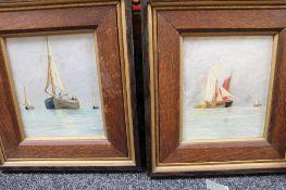 Early 20th century school, boats in still water,