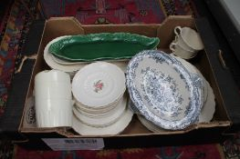 A box of Spode dual tea plates and other ceramics
