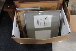A box containing a quantity of continental pictures and prints