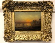 19th century school : Figures on a bridge at sunset, indistinctly signed verso, oil on board,