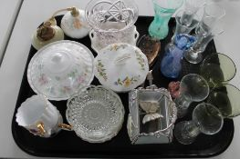 A tray of decorative glass figures, Aynsley lidded pot,