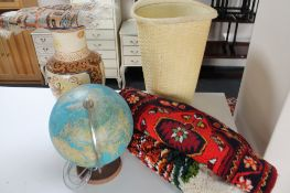 A decorative oriental style vase together with desk globe, wall hanging,