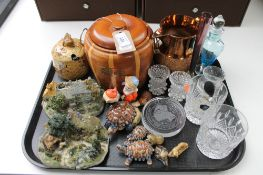 A tray of assorted glass ware, Wade whimsies, wooden barrel, copper lustre jug,