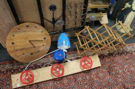 An ornamental coat rack, drying rack,
