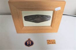A Bentley commemorative plaque together with a badge