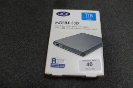 Lacie : Mobile SSD, 1TB, High Performance External SSD, model LRD0TUA, brand new, box still sealed.