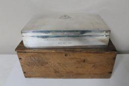 A large Edwardian silver cigarette box of Boer War interest, awarded to Lt. A. G.