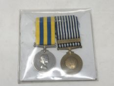 A pair of Korea medals named to P/SSX 722284 C. Dorney A.B. R.N.