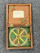 An antique brass surveying instrument by J and W Archbutt in fitted box
