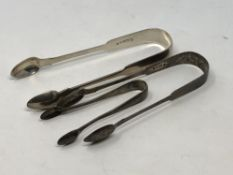 Three pairs of silver sugar tongs including a Newcastle silver pair (3) CONDITION REPORT: