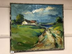 Continental school : oil on canvas depicting landscape with cottage by a lake