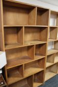 A multi section plywood bookcase CONDITION REPORT: 182cm high by 92cm wide by 25cm