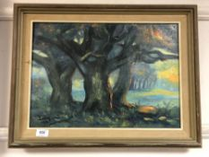 Continental school : oil on canvas depicting trees by sunset