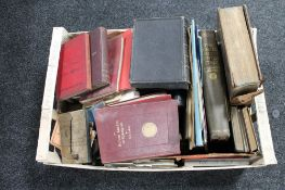 A box of books, antique and later,