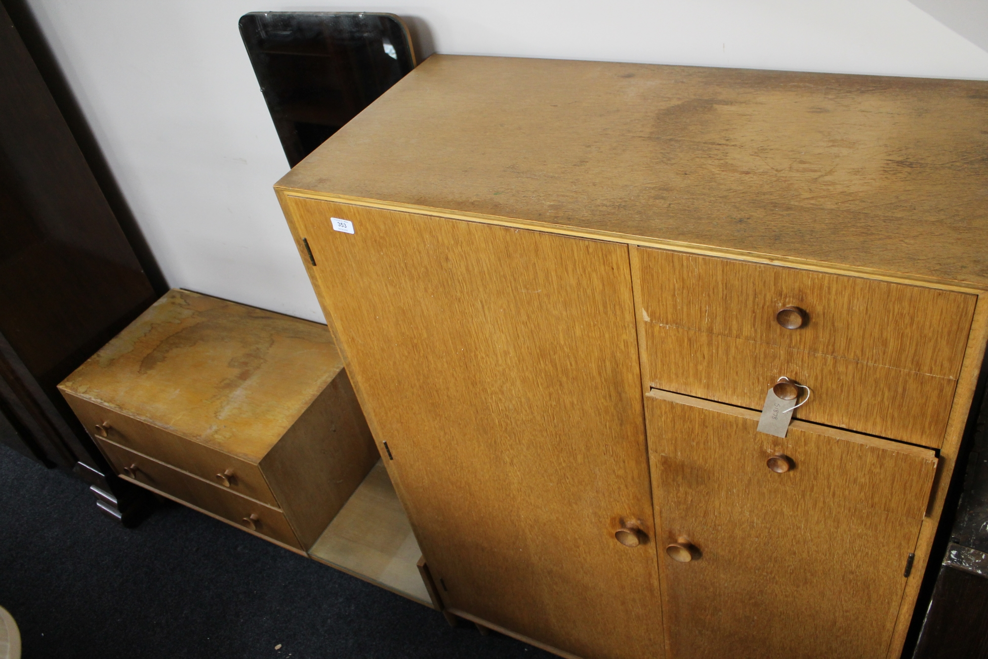 Lot 353 - A mid century Meredew furniture gentleman's wardrobe and dressing chest