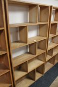 A multi section plywood bookcase CONDITION REPORT: 181cm high by 92cm wide by 24cm